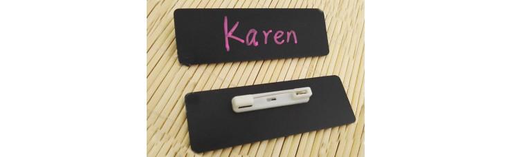 Stock Chalkboard Reusable PVC Name Badge 75x25x0.76mm